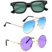 Elligator Aviator, Wayfarer, Round Sunglasses(Green, Blue, Violet)