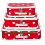 Merkloos Rood polkadot vintage koffertje 25 cm