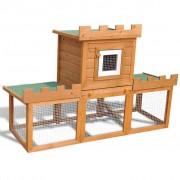 vidaXL Външна клетка за зайци/малки животни, дървена, голяма, с 1 къща