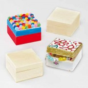 Wooden Keepsake Boxes - Pack of 4. Decorate your own wooden trinket box with acrylic paint, pens etc. Size 6cm x 6cm x 3.5cm with hinged magnetic lid.