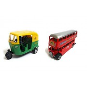 Combo of Auto and Double Decker Bus, Small Size (Set of 2 Pieces)