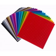 "Strictly Briks 6"" X 6"" Rainbow Construction Base Plates 24 Pack Bundle Lego Compatible"
