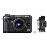 Kit Aparat foto Canon EOS M6 (cu un obiectiv 15-45mm), negru + adaptor Canon EF-S-EOS M