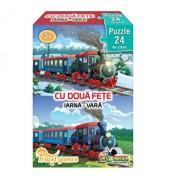 Mini Puzzle cu doua fete - Vara, iarna, 24 piese