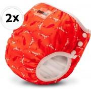 Bambinex wasbare zwemluier en oefenbroekje - 2 stuks - Bubble - maat XS