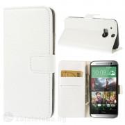 Кожен калъф тип портмоне с грапава кожа за HTC One M8 - бял