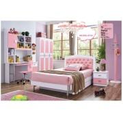 Set mobilier Sirena din MDF pentru camera copii 4 piese: pat tapitat cu 2 sertare depozitare, noptiera, dulap 3 usi, birou - cod 873
