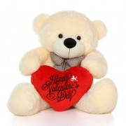 4 Feet Peach Big Bow Teddy Bear holding Happy Valentines Day heart