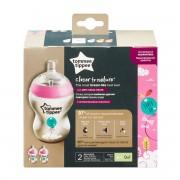 Tommee Tippee Closer to Nature®Dekorirane bočice, 260 ml, 2 komada, ružičaste