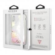 Guess Glitter Palm Spring Hard Case - дизайнерски кейс с висока защита за Apple iPhone X (розов-бял)
