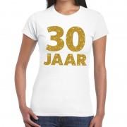 Bellatio Decorations 30 jaar goud glitter verjaardag/jubileum kado shirt wit dames