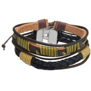 Sullery Rope Type Biker Multicolour Leather Bracelet For Men And Women (Pack Of 2)