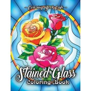 Stained Glass Coloring Book: An Adult Coloring Book Featuring Beautiful Stained Glass Flower Designs for Stress Relief and Relaxation, Paperback/Coloring Book Cafe