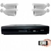 Kit vidéosurveillance IP 4 caméras 1mp 30m