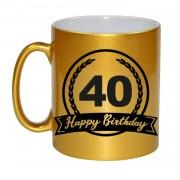 Bellatio Decorations Happy Birthday 40 years met wimpel cadeau koffiemok / theebeker goud 330 ml