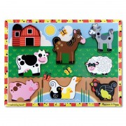 Puzzle lemn in relief Animale de ferma, Melissa and Doug, 8 bucati
