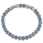 Om Jewells Rhodium Plated Stylish Tennis Bracelet made with Crystal Stones for Girls and Women BR1000012BLU