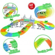 Glow in the Dark Flexible Track Race Sets Toy for Kids Age 2 3 4 5 6 7 with 144 LED Pcs Flexible Tracks ,1 LED Race Car,4 trees,2 Slopes,1 Hanging Bridge for Children's Gift