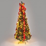 All Round Fun 6ft Red and Natural Pre-Decorated Pop-Up Christmas Tree with Warm White LEDs