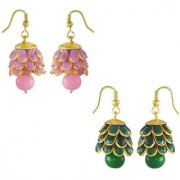 Chrishan high gold plated designer alloy combo of pearl jhumki earring set for women and girls.