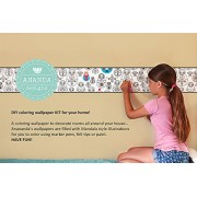 Ananda Kids DIY Wall Decal Coloring Art Kit - Matryoshka Dolls - Girls Fun Birthday Gift - Russian Nesting Dolls- Children's Play Room Decor