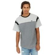 【81%OFF】切替パターン クルーネック 半袖Tシャツ チャコールコンボ m ファッション > メンズウエア~~その他トップス