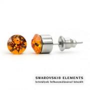 Jazzy borostyán Swarovski® kristályos fülbevaló - Kerek foglalatos Tangerine