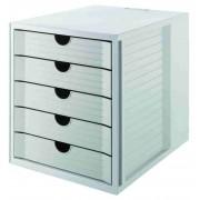 Suport plastic cu 5 sertare pentru documente, HAN - gri deschis/gri deschis