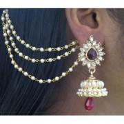Maroon Drop Jhumka With Pearl Ear Chain Earring
