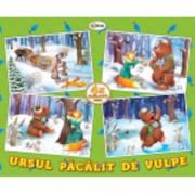 Puzzle - ursul pacalit de vulpe (4 imagini - 59 de piese)