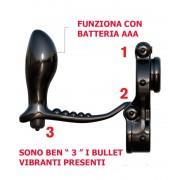 Anello per Pene e Testicoli e Cuneo Anale Connesso - 3 Bullet Vibranti Incorporati
