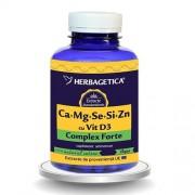 Complex Forte (Ca+Mg+Se+Si+Zn) cu Vitamina D3 2000UI Herbagetica 120cps