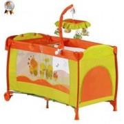 BabyGo - Patut Pliant Cu 2 Nivele Si Mini-Carusel Sleeper Deluxe Orange