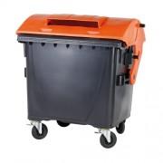 1100 l Műanyag konténer fekete/narancs fedéllel 0054-3/9