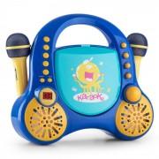 Rockpocket Kinder-Karaoke-System CD AUX 2x Mikrofon Sticker Set blau