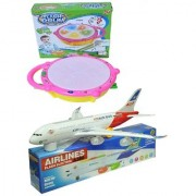 New Pinch Combo Of Musical Flash Drum With Musical Plane For Kids (Multicolor)