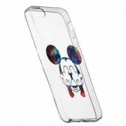 Husa Silicon Transparent Slim Mini Mouse FU Apple iPhone 5 5S SE