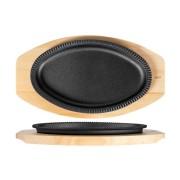 Platou de fonta, oval, cu suport tava lemn, 25x15.5x2.5