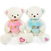 White 2.5 Feet Couple Teddy Bears holding LOVE YOU heart