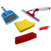 Stylewell Combo Of Mini Dustpan Broom Set Carpet Cleaning Brush Microfiber Towel Cloth NonScratch Sprayer Glass Wiper