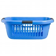 Wasmand Charlotte - blauw - 65x44x24,5 cm - Leen Bakker