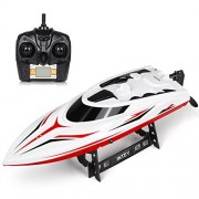 INTEY Remote Control Boat High Speed 2.4G RC Boats With 180 Flip Function, LCD Display, Double Hatch Waterproof Racing Boat for Pool & Outdoor Use