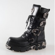 stivali in pelle - Metal Boots (391-S1) Black - NEW ROCK - M.391-S1