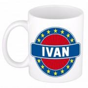 Bellatio Decorations Ivan naam koffie mok / beker 300 ml - Naam mokken