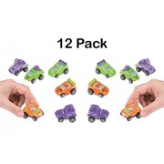 Pullback Mini Cars - Pack Of 12 - 2 Inch Assorted Colors - Friction Powered Racers - For Kids Great Party Favors, Bag Stuffers, Fun, Toy, Gift, Prize, Piñata Fillers - By Kidsco