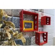 Onlineshoppee Rojo Square Nesting MDF Wall Shelf Size(LxBxH-10x4x10) Inch
