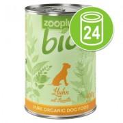 Voordeelpakket zooplus Bio Hondenvoer 24 x 400 g - Mix: kip, rund, kalkoen