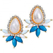 Maayra Women Earrings Partywear Alloy Ear Stud Blue White Pearl Jewellery