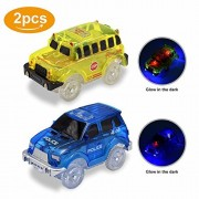 Pack of 2 Lydaz Race Car Track Play & Independent 5 LED Light up School Police Vehicles Glow in the Dark Compatible with Dinosaur Tracks and Magic Tracks