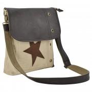 Corium® Дамска чанта от лен 27 x 30 x 6 см. с бежово-кафява звезда